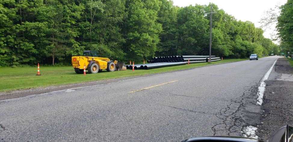 Newton Rd. Force Main Project - picture of pipe on the side of the road