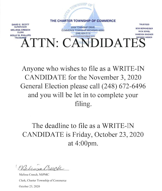 Write-in Candidate Deadline 4PM on October 23,2020